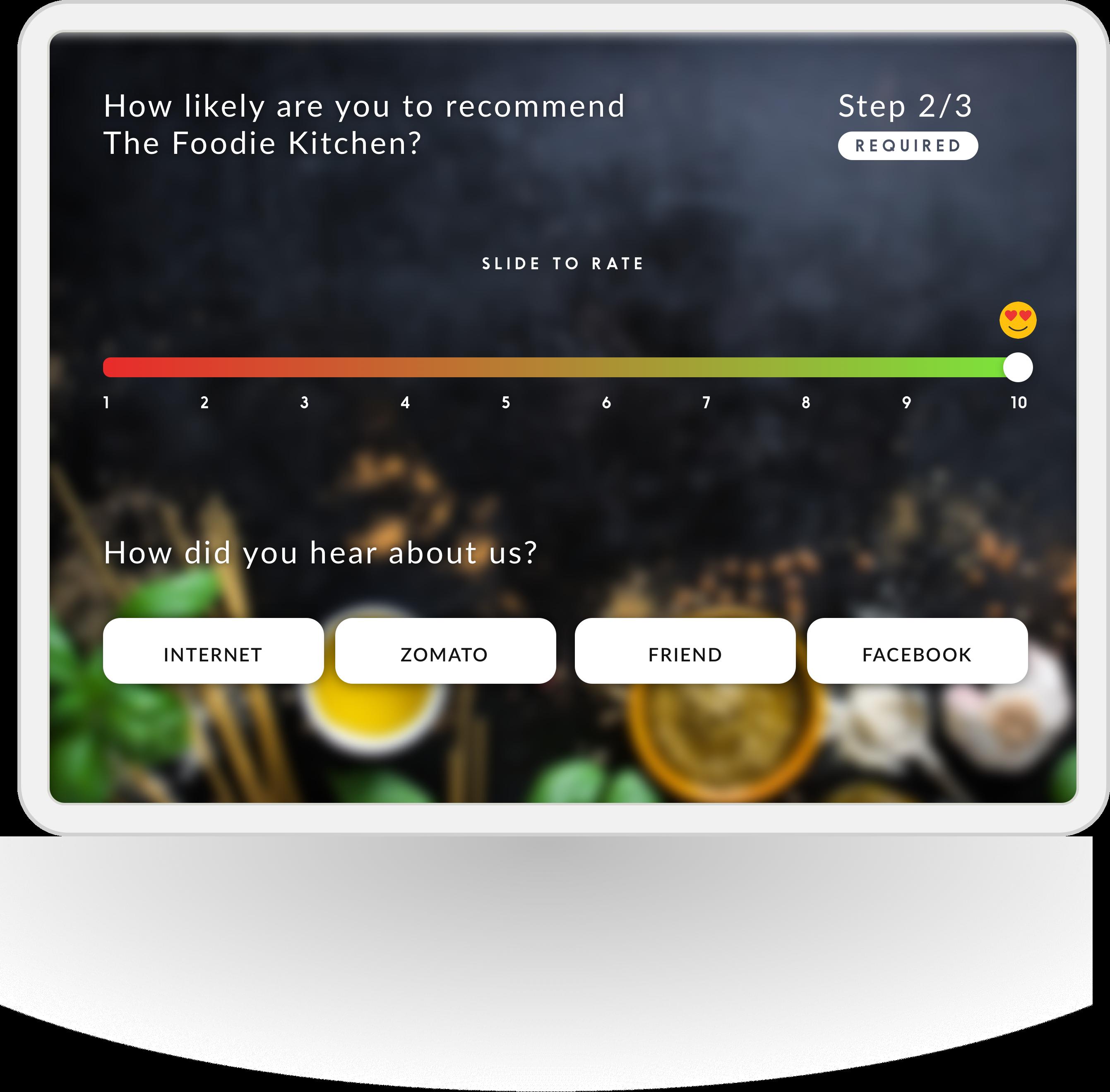 Screenshot of net promoter score via customer feeedback system