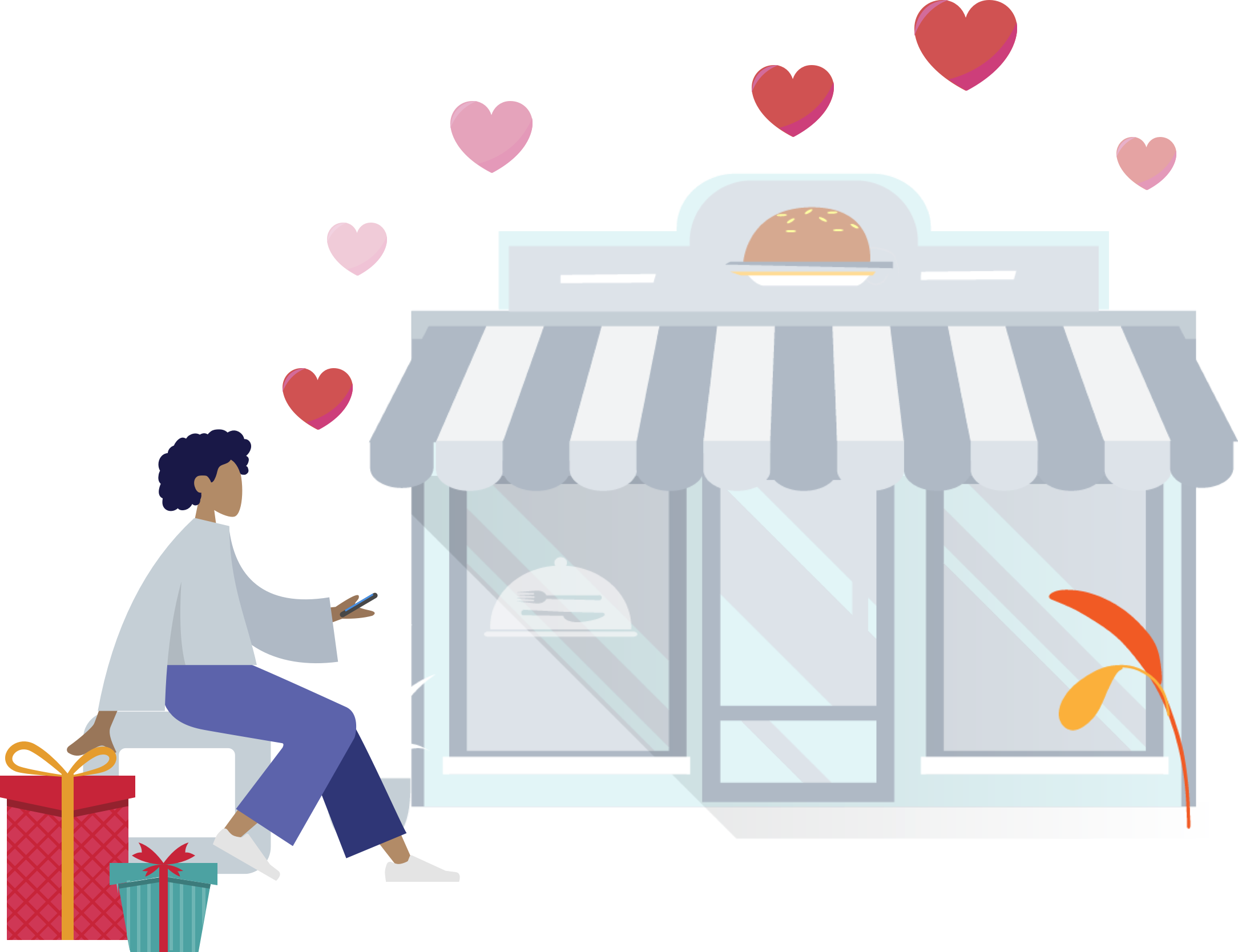 Illustration for customer loyalty program to increase retention by rewarding customers